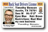 A Best Seller - Back Seat Drivers License